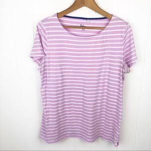 ❤️Boden•Purple & white stripe t shirt